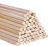 AUSYDE Bambusstäbe zum Basteln 30cm, Bastelstäbe Runder Stock, 55 Stück 5mm/0.20inch Holz, Rundhölzer zum Basteln, Hochwertige Bambusstock
