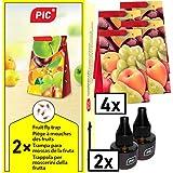 PIC - Fruchtfliegenfalle, Obstfliegenfalle und Essigfliegenfalle - 2 Lockstoffbehälter mit 4 Leimfallen für extra Langen Effekt - Geeignet für die Küche