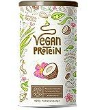 Vegan Protein KOKOS - Kraftvoll und rein pflanzliches Proteinpulver mit Reis-, Soja-, Erbsen-, Chia-, Sonnenblumen- und Kürbiskernprotein, Ohne künstliche Süßstoffe und Aromen - 600 Gramm Pulver