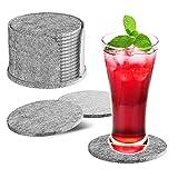 HOTERB Untersetzer Gläser 14er Set,Untersetzer Filz mit Aufbewahrungsbox Glasuntersetzer Filzuntersetzer Rund,Filz Untersetzer für gläser,Heiße Tassen,Töpfe,Teetassen