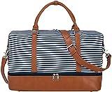 S-ZONE Damen Weekender Reisetasche 33/45 L Canvas Tasche Übergröße Duffel Taschen mit PU-Lederband und Schuhfach