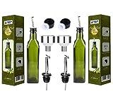 Olivenöl-Spenderflasche – 2 Stück mit 500 ml Glasflaschen für Olivenöl mit einfachem Ausgießer – Öl- und Essig-Set mit Lebensmittelqualität Trichter tropffreie Olivenöl-Karaffe Dekanter für Küche
