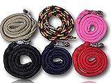Führstrick mit Panikhaken | für Pferde, Ponys, Shetty, Esel | Anbindestrick in vielen stylischen Designs |Länge 1,60 m (Schwarz-Rot-Gelb)