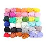 rosenice Filzwolle 36 Farben Märchenwolle Schafwolle Set zum Nassfilzen und Trockenfilzen DIY
