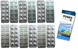 120 Testtabletten - je 60 Phenol Rot (pH) und je 60 DPD1 (Chlor) für Wassertester (Rapid, Farbabgleich) 6 Streifen a`10 Tabletten mit POWERHAUS24 Pflegefibel!