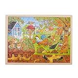Goki 57743 Einlegepuzzle 'Unser Garten' aus Holz, 96-teilig