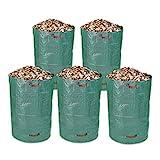 Schramm® 5 Stück Gartensäcke 300 Liter 67 x 85 cm Grün Robusten Polypropylen Gewebe PP Gartensack Garten Sack Säcke Big Bag 5er Pack