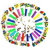 STUWU 24x Luftrüssel bunt Partypack Krachmacher Karneval Tröten Blasrüssel Mitgebsel Kindergeburtstag
