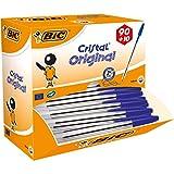 BIC Kugelschreiber Cristal Original, in Blau, Strichstärke 0,4 mm, 100er Pack, Ideal für das Büro, das Home Office oder die Schule