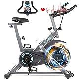ANCHEER Heimtrainer, 49LBS Indoor Cycling Bike Fitnessbike Mit Herzfrequenzmonitor & LCD Monitor, Bequeme Sitzkissen, Schwere Schwungrad Upgrade Version, Multi-Grips
