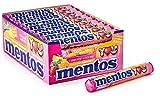 Mentos Fruit Dragees, 40 Rollen Bonbons, Frucht-Geschmack mit Orange + Zitrone + Erdbeere, Multipack Kaubonbons