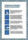 10 Stück Infektionen vorbeugen Premium Aufkleber A4 | 21 x 29,7cm die Hände richtig waschen Hygienevorschriften Sticker mit UV Schutz für Außen-und Innenbereich