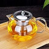Teekanne Glas 900ml mit abnehmbare Edelstahl-Sieb Herdplattensichere Teekanne aus Glas, Hitzebeständig Borosilikatglas Dickes Glas Teebereiter, Glasteekannen Ideal zur Zubereitung von Losen Tees 0,95L