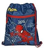 Turnbeutel mit Namen   inkl. NAMENSDRUCK   Motiv Spiderman in blau & rot   Personalisieren & Bedrucken   Schuhbeutel Sportbeutel zum Zuziehen für Jungen Kinder
