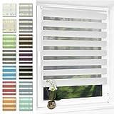 Doppelrollo klemmfix Duo Rollo ohne Bohren,Rollos für Fenster und Tür,lichtdurchlässig und verdunkelnd 90 x 120 cm(BxH) Weiß