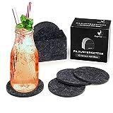 flamaroc® Filzuntersetzer Rund - 10er Untersetzer Filz Premium-Set mit Box Anthrazitgrau, Stylishe Glasuntersetzer in dunkelgrau für Glas, Getränke, Gläser (10 cm rund, anthrazit grau)