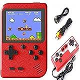 Malidily Handheld Spielekonsole, 400 Klassische Spielen Retro Videospielkonsole, Portable Konsole 3 Zoll Bildschirm, Unterstützung TV Anschließen und Zwei Spieler, Geschenke für Kinder (Rot)