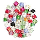 Sharplace 50er Set Glas Kristall Quadrat Würfel Bastelperlen Glas Perlen Dekoperlen Zwischenperlen für DIY Armbänder Halsketten Kette - Farbe mischen