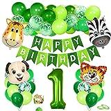 Bluelves 1. Geburtstag Tiere Thema Set, Geburtstagsdeko Junge 1 Jahre, 1 Geburtstag Deko, Luftballon 1. Geburtstag Junge, Folienballon 1 Grün, Kindergeburtstag Tiere Deko, für Safari Party Dekoration