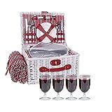kramow Picknickkorb für 4 Personen|Weiden Picknickkorb Set mit Isoliertem Kühler & Wasserdichter Decke & Besteck Service Kit Weide Picknickkorb Set für Camping Outdoor Geburtstagsfeier