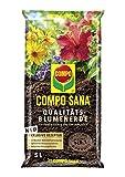 Compo SANA Qualitäts-Blumenerde mit 12 Wochen Dünger für alle Zimmer-, Balkon- und Gartenpflanzen, Kultursubstrat, 5 Liter, Braun