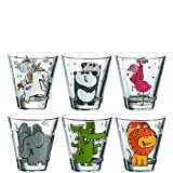 Leonardo Bambini Trink-Glas, Kinder-Becher aus Glas mit Tier-Motiv, spülmaschinengeeignete Saft-Gläser, 6er Set, 215 ml, 017906
