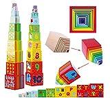 Toys of Wood Oxford Stapelturm Holz - Bunte Würfel mit Zahlen, Buchstaben und Tieren stapeln oder ineinander stecken - Stapelwürfel Steckturm für Kinder ab 2 Jahren