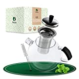 REXALA ®️ Teekanne mit Siebeinsatz aus Glas – 1500 ml – Inklusive Reinigungsbürste – Bruchsicheres Hitzebeständiges Borosilikatglas – Deckel aus Edelstahl