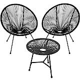 TecTake 800730 2er Set Acapulco Garten Stuhl mit Tisch, Lounge Sessel im Retro Design, Indoor und Outdoor, pflegeleicht, Relaxsessel zum gemütlichen Sitzen - Diverse Farben - (Schwarz   Nr. 403307)