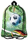 Aminata Kids Turnbeutel Kinder Junge Fussball-Motiv Kindergarten & Schule - Nylon, reflektierend & wasserabweisend - Sportbeutel mit Ball-Motiv hat verstärkte Nähte und einen Brustclip