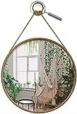 Wandspiegel rund Holz, Spiegel rund Holz, 48 cm Ø mit Verstellbarer Seilaufhängung und Holzrahmen, Deko Spiegel groß, Mirror Wall, runder Spiegel Wand, Badezimmer-Spiegel rund, Flur-Spiegel groß