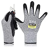 DEX FIT Level 5 Cut Schnittfeste Handschuhe Cru553, 3D Komfort Stretch Fit, Power Grip, Strapazierfähiger Schaumnitril, Smart Touch, Maschinenwaschbar, Dünn & Leicht, Grau 8 (M) 1 Paar