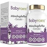 BabyFORTE® Mönchspfeffer - 10:1 Extrakt - 180 Kapseln - Vegan - Hergestellt in Deutschland - 10 mg Vitex Agnus Castus Tabletten
