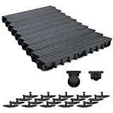 10m Entwässerungsrinne für modulares System A15 98mm, komplett Stegrost Kunststoff, Schwarz Line