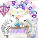 6. Meerjungfrau Geburtstagsdekorationen für Mädchen, 32 inch Folienballons Nummer 6 mit Meerjungfrauen Aluminiumfolienballons, muschelförmige Aluminiumfolienballons für Babyparty Partydekorationen