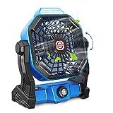 Tesoky Leise Ventilator 30dB Klein Tischventilator 270° Rotieren Wiederaufladbar USB LED Licht Camping Ventilator, Stufenlose Geschwindigkeitsregulierung und Haken, Ideal als Büros,Schlafzimmer,Zelt