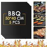 ISUDA Grillmatte,5pcs BBQ Grillmatten Set,Antihaft Grill Teflonmatte Rund,Backmatte Wiederverwendbar PFOA-Frei für Holzkohle,Gasgrill & Weber Grills 50 * 40cm