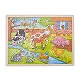 Goki 57745 Einlegepuzzle 'Leben auf dem Bauernhof' aus Holz, 48-teilig