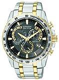 Citizen Herren Armbanduhr Citizen Eco-Drive Chronograph at4004–52E mit einem schwarzen Zifferblatt und einem zweifarbigen Edelstahl Armband