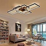 LED Deckenleuchte Modern Wohnzimmer Lichtkreatives Rechteck Pendelleuchte Dimmbar Creative Acryl Design Lampe Decke Fixture Beleuchtung Schlafzimmer Deckenlampe[Energieklasse A++],Schwarz,Ø140CM/82W