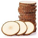 Fuyit Holzscheiben 20 Stücke Holz Log Scheiben 9-10cm Unvollendete Holzkreise Ungebohrte Holzkreise ohne Loch für DIY Handwerk Holz-Scheiben Hochzeit Mittelstücke Weihnachten Dekoration Baumscheibe