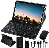 10'' Tablet 4 GB RAM 64 GB ROM WiFi + Dual-SIM LTE Android 10 Pro GOODTEL Tablette Dual-Kamera 5 + 8 MP | WiFi | IPS | Bluetooth | MicroSD 4-128 GB | FM-Radio | mit Bluetooth Tastatur und Maus - Grau
