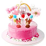 EKKONG Tortendeko Geburtstag, Cake Topper Tortendekoration kuchendeko, 16er Set einschließlich Sikahirsch, Ballon, Happy Birthday, Wolke für Kinder Mädchen Geburtstag Weihnachtsfeier Baby Shower