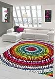Merinos Teppich modern Wohnzimmer Teppich Regenbogen bunt Größe 120 cm Rund