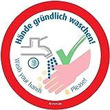 immi 4St. Hände waschen, Saubere Toilette/WC Aufkleber, Hygiene auf Klo, 95mmØ