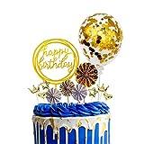 MAEKIJOY Tortendeko Gold Geburtstag Kuchen Topper 12er Set Konfetti Ballon, Happy Birthday, Papierfächer, Herzförmig, Sterne, Krone Cake Topper Geburtstagstorte Kuchen Deko