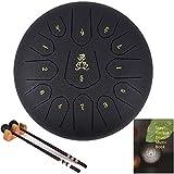 AiLa Stahlzungentrommel Steel Tongue Drum-C Tune 13 Noten 12 Zoll Handtrommel-Schlaginstrument Handpan mit Trommelschlägeln/Tragetasche für Meditation Yoga Klangheilung(Schwarz)