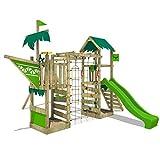 FATMOOSE Spielturm Klettergerüst WaterWorld mit Schaukel & apfelgrüner Rutsche, Spielhaus mit Sandkasten, Leiter & Spiel-Zubehör