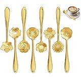 8 Formen Blumenlöffel Set Edelstahl Teelöffel Kaffeelöffel kreatives Geschirr, 12,5 cm gemischter Löffel Zuckerlöffel Eislöffel, verwendet für Catering-Aktivitäten, Themenrestaurants, Bars(golden)