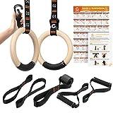 Gonex Gymnastik Ringe Turnringe Holz Ringe Turnen mit verstellbaren Nummerngurten 32mm Crossfit Ringe für Fitnessstudio, Training, Bewegung, Training im Freien, Schnellmontage-Karabiner